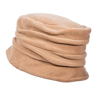 c8055374 SCALA Pleated Micro Fleece Cloche Hat (Camel) at Amazon Women's Clothing  store: