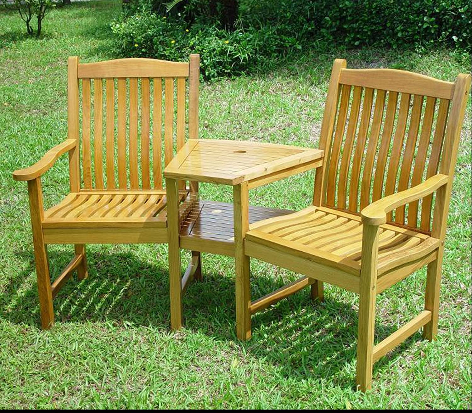 solid oak garden love seat sale sale sale amazoncouk garden outdoors - Wooden Garden Furniture Love Seats