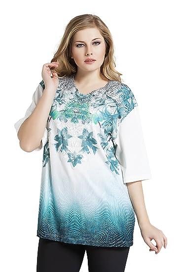 fed2d36ddf1 Tops   Plus Women s Plus Size Aqua Lilies Tunic - Ecru at Amazon ...
