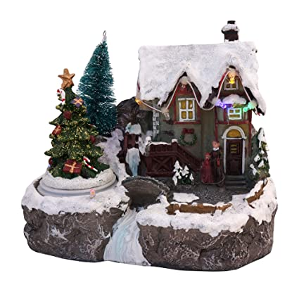 led lighted snowy christmas village animated winter house scenes spinning tree - Animated Christmas Scene Decorations