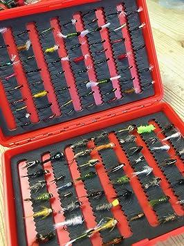 BestCity pesca con mosca ninfas y zumbadores suministrados en caja dura con mosca 50 moscas suministradas en Reino Unido: Amazon.es: Deportes y aire libre