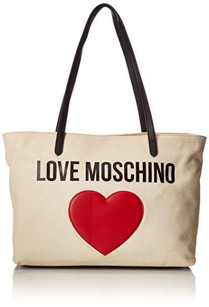 4e428ab35 Love Moschino Borsa Canvas Naturale+pebble Pu Ner - Borse Tote Donna, Beige  (