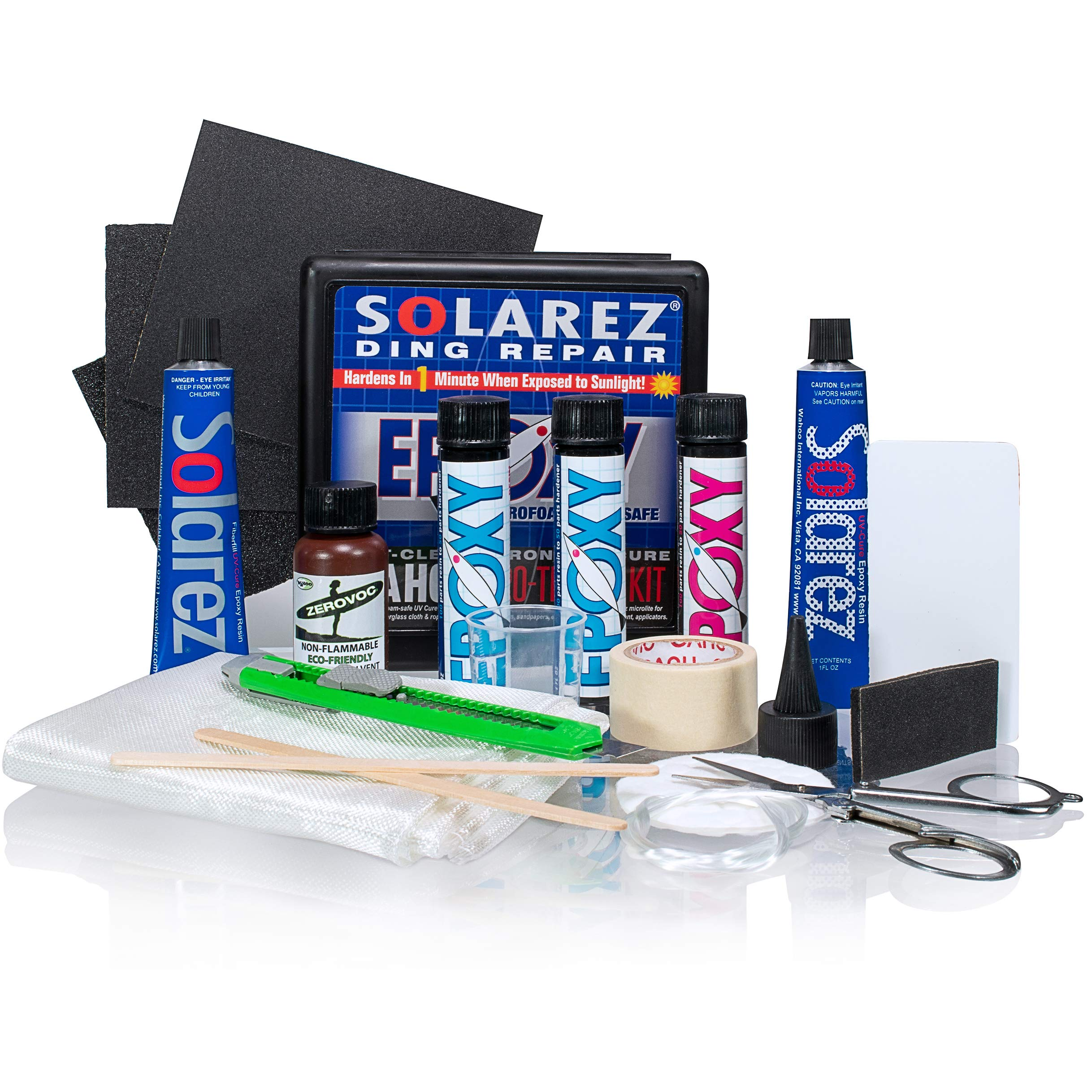 SOLAREZ UV Cure Epoxy PRO Travel Kit ~ Epoxy Surfboard Repair Kit ~ Cures 3 min in The Sun for a Professional Repair! Plus - Low Odor, Easy to Use, Made in The USA! by SOLAREZ
