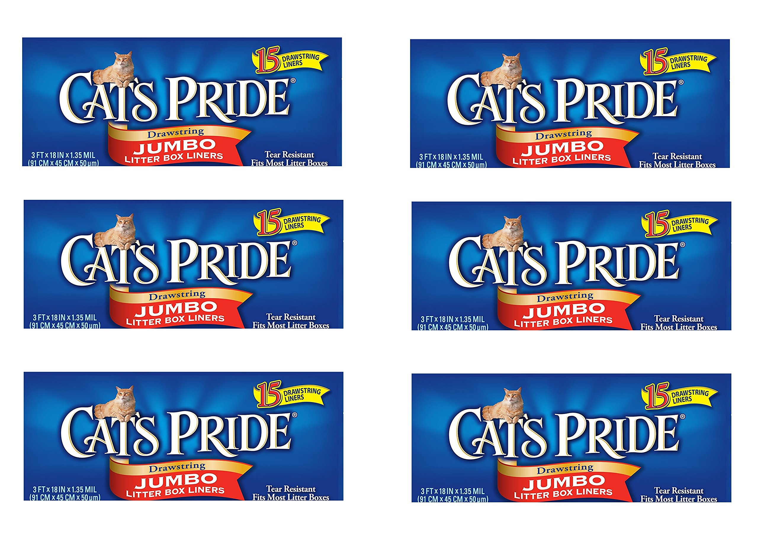 Cat's Pride Drawstring Jumbo Litter Box Liners, 15 Count (6 Pack (15 Count))