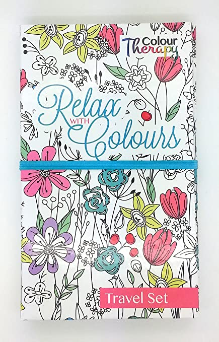 Adult Teenager Colouring Book Travel Set And 12 Pencils