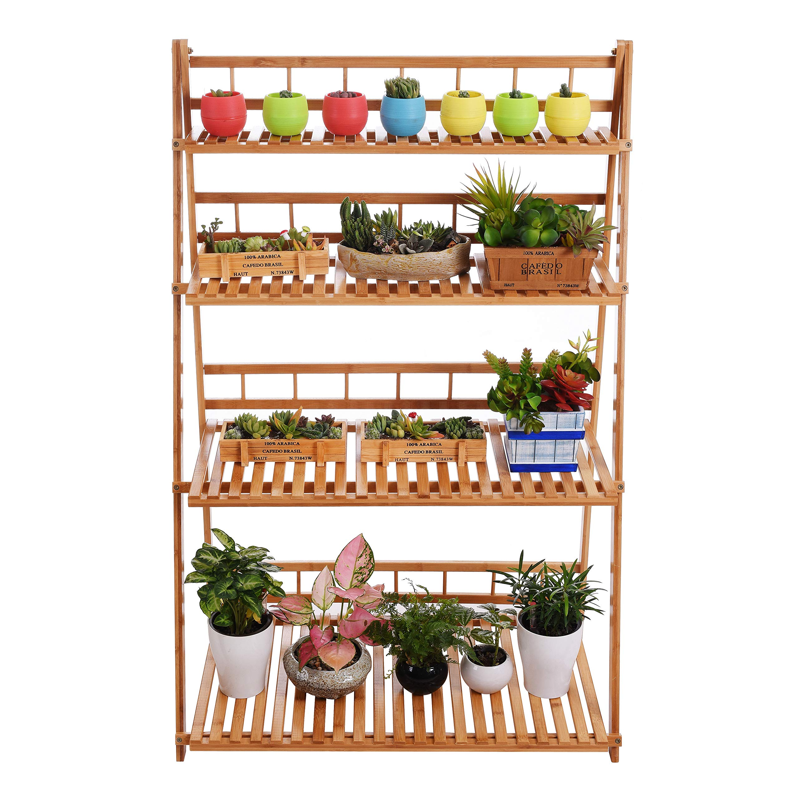 Plant Flower Stand Plant Display Shelf Rack Shelf Bamboo Foldable Pot Racks Planter Storage Rack Display Shelving Unit by MUGIAZII