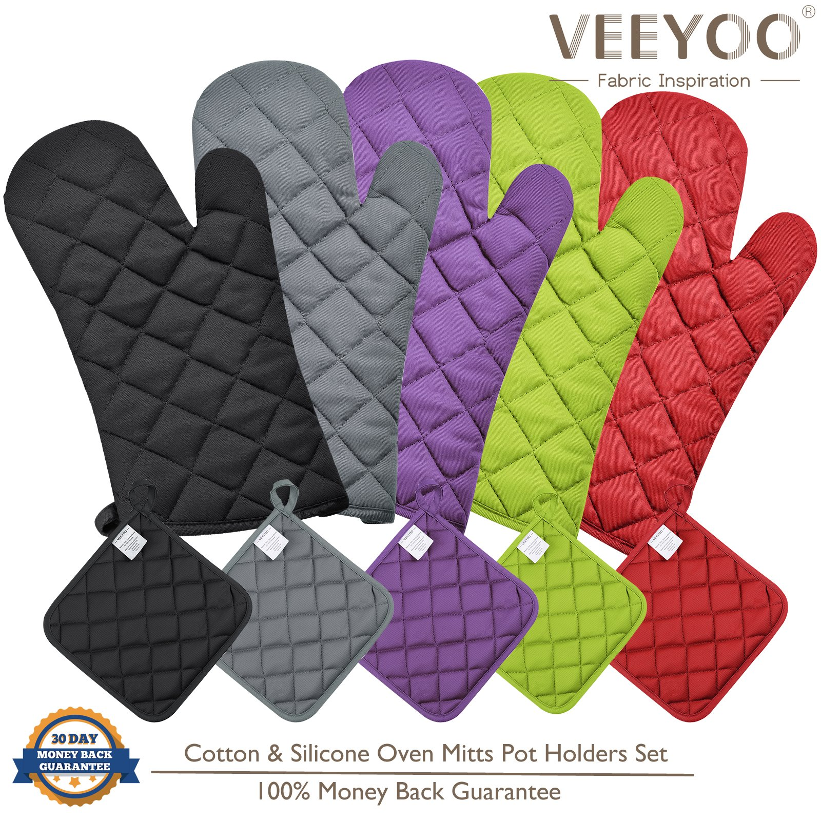 VEEYOO Cotton Oven Mitts Pot Holders Set - Kitchen Silicone Oven Mitt Heat Resistant, Non-slip Grip Oven Gloves Potholder 3 Packs Cooking, Baking & BBQ, Purple by VEEYOO (Image #8)