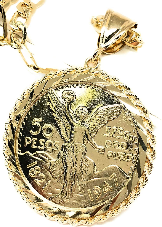50 Pesos Gold Plated 1821-1947 Mexican Flag Centenario Coin Laminado 26/'/' Chain