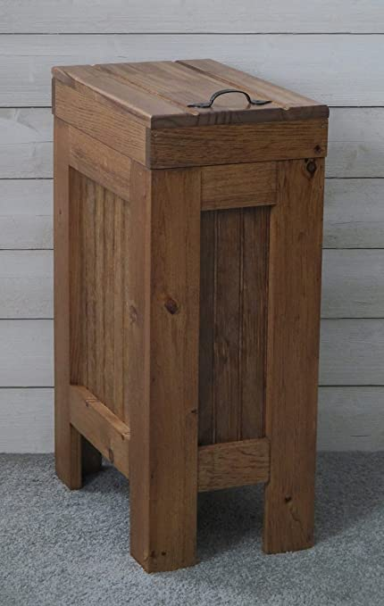Wood Wooden Trash Bin Kitchen Garbage Can 13 Gallon , Recycle Bin, Dog Food  Storage