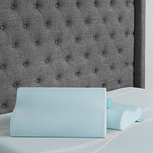 Cuscino Tempur Comfort Cloud.Amazon Com Tempur Pedic Cloud Cooling Neck Pillow Medium Blue Home Kitchen