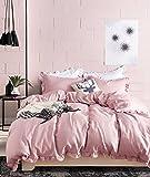 【サンマドラ】布団カバー 寝具カバー3点セット ベッドカバー 枕カバー シーツカバー 肌に優しい フリル付き 純色 無地 ピンク(150cm*210cm シングル)