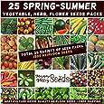 Mixed Spring Summer 1500 Heirloom Seeds Vegetable HERB Flower Garden 25 pks Bulk