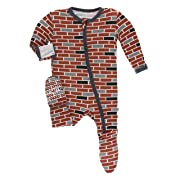Kickee Pants Little Boys Print Footie with Zipper - London Brick, 9-12 Months