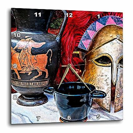 3dRose Antiguo Estilo Griego Still-Life de Bujías y un Casco de Guerra Reloj fotográfico