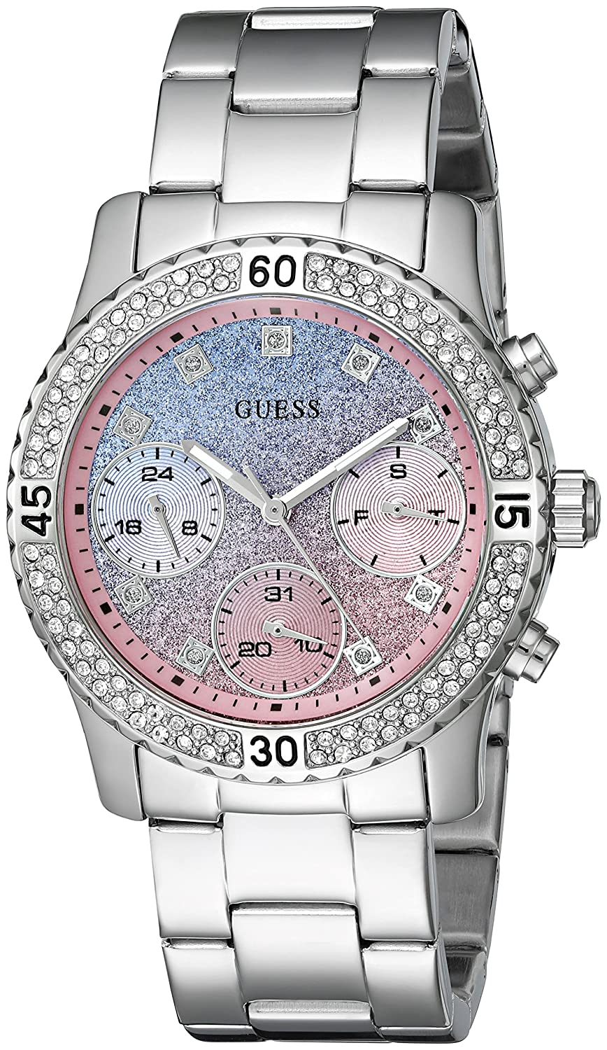 Amazon.com: GUESS Womens Stainless Steel Crystal Casual Watch, Color: Silver-Tone (Model: U0774L6): Watches