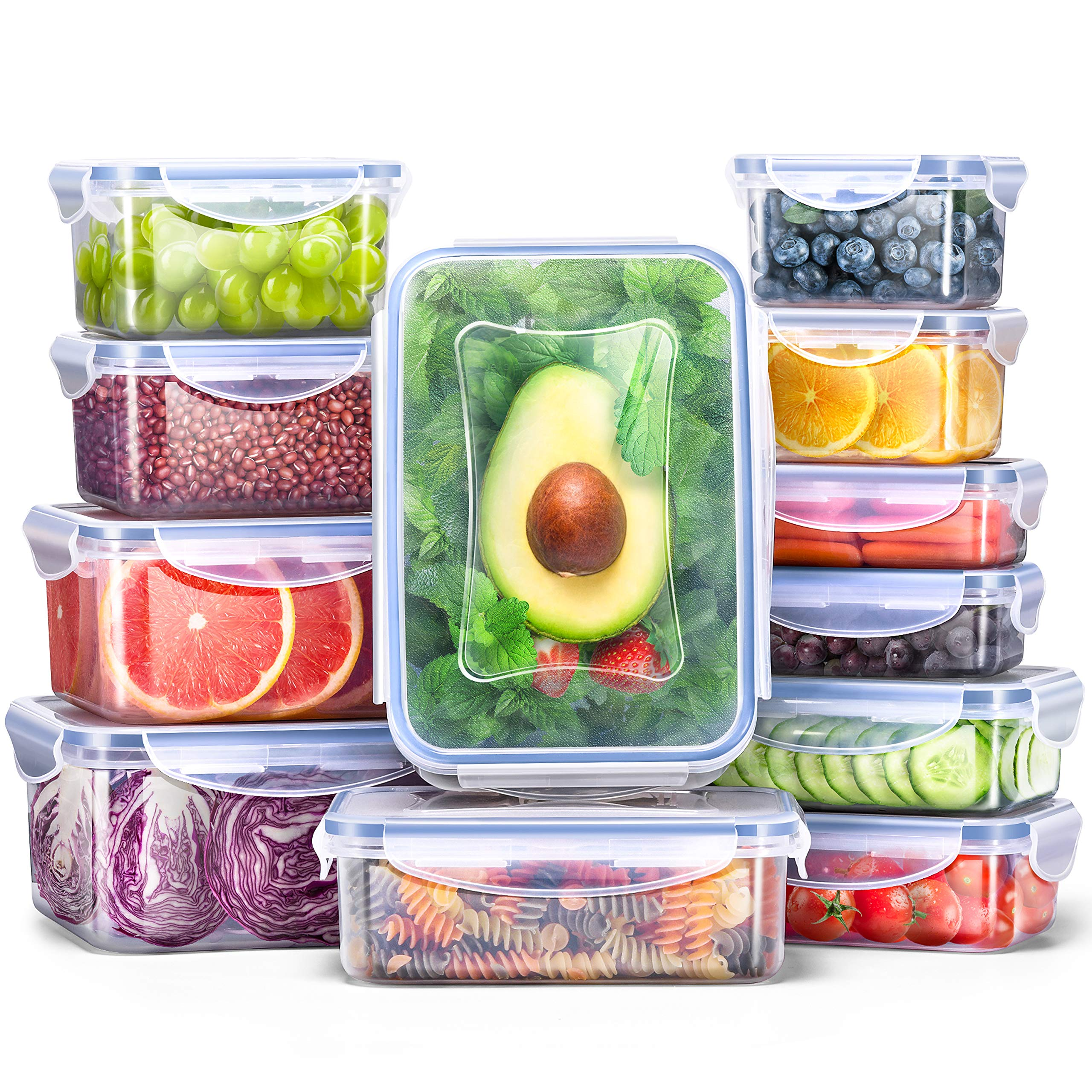 Veken Food Storage Containers with Airtight Lids, 12 Pack Plastic BPA Free, Reusable, Stackable Meal Prep Containers and Bento Lunch Boxes, Microwave, Freezer, Dishwasher Safe by Veken