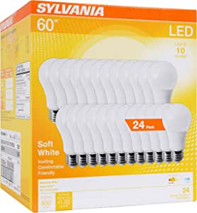 SYLVANIA General Lighting 74765 A19 Efficient 8.5W Soft White 2700K 60W Equivalent A29 LED Light Bulb (24 Pack), 24 Count