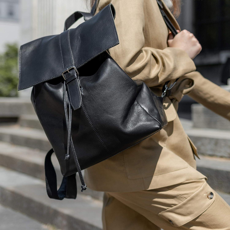 BACCINI/® Zaino vera pelle LISA grande borsa a spalla 15,6 pollici borsa a zainetto backpack donna cuoio nero