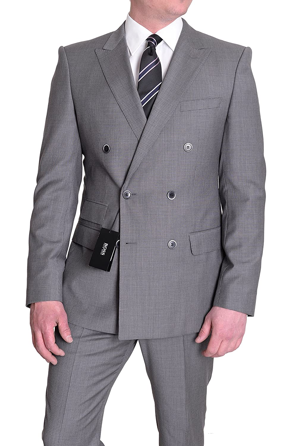 2665e8797 The Suit Depot Hugo Boss Darrington/Knight Extra Slim Fit 38R Gray Check  Double Breasted Super 100 Wool Suit at Amazon Men's Clothing store: