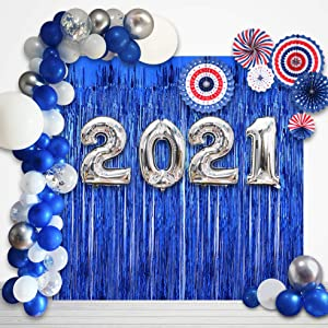 2021 Graduation Decorations ,Navy Blue and Silver Balloons kit/2021 Balloons Party Supplies for Your New Years and Grad Decor