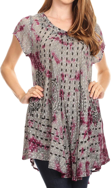 Sakkas 19227 OSP Gilda Womens Summer Casual Short//Long Sleeve Swing Dress Tunic Cover-up 19228-Violet