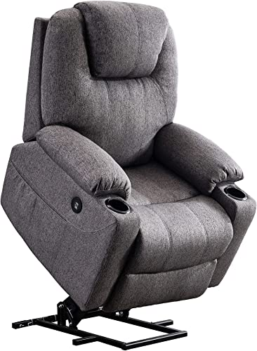 Mcombo Electric Power Lift Recliner Chair Sofa with Massage and Heat for Elderly, 3 Positions, 2 Side Pockets and Cup Holders, USB Ports, Fabric 7040 Medium, Gray