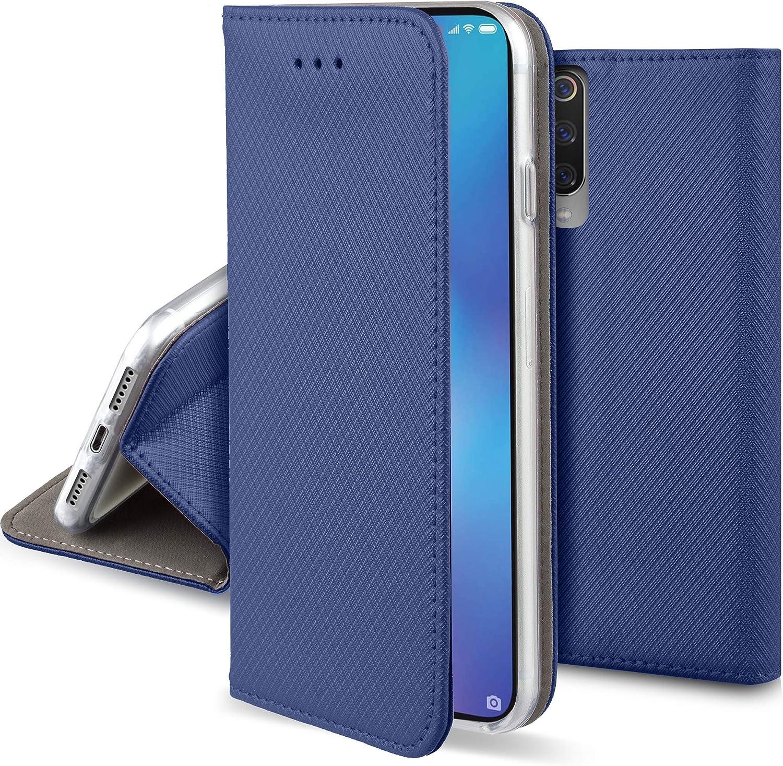 Moozy Funda para Xiaomi Mi 9 SE, Azul Oscura - Flip Cover Smart Magnética con Stand Plegable y Soporte de Silicona