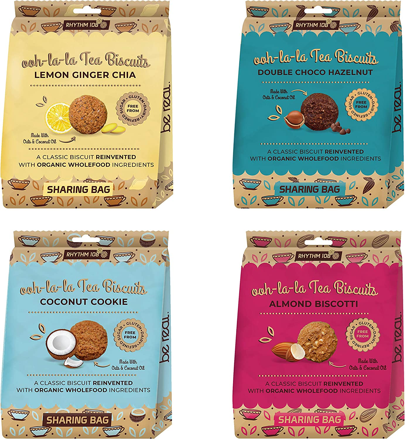 Rhythm 108 Organic Tea Biscuits Share Bag Mixed (Pack of 4)