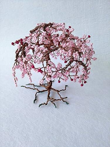Cherry Blossom Tree. Home Decor. Mantelpiece. Office Decor. Wire Bonsai.  Artificial
