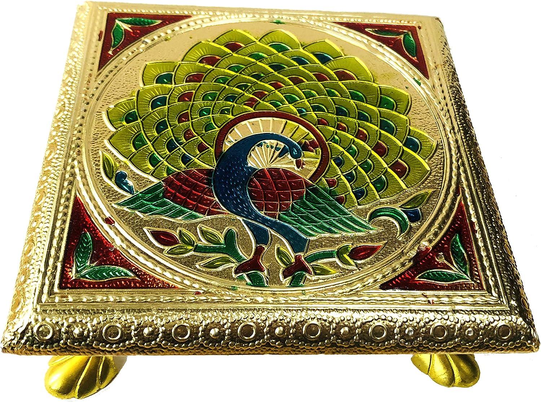 "6/"" x 6/"" Indian Bajot Bajoth Puja Chowki Table Low Table Idol Mandir Brass Mina"