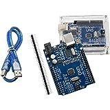 Uno R3 Carte mère ATMEGA328P ch340 – alleu u6012 avec boîtier et câble USB compatible avec Arduino Uno R3
