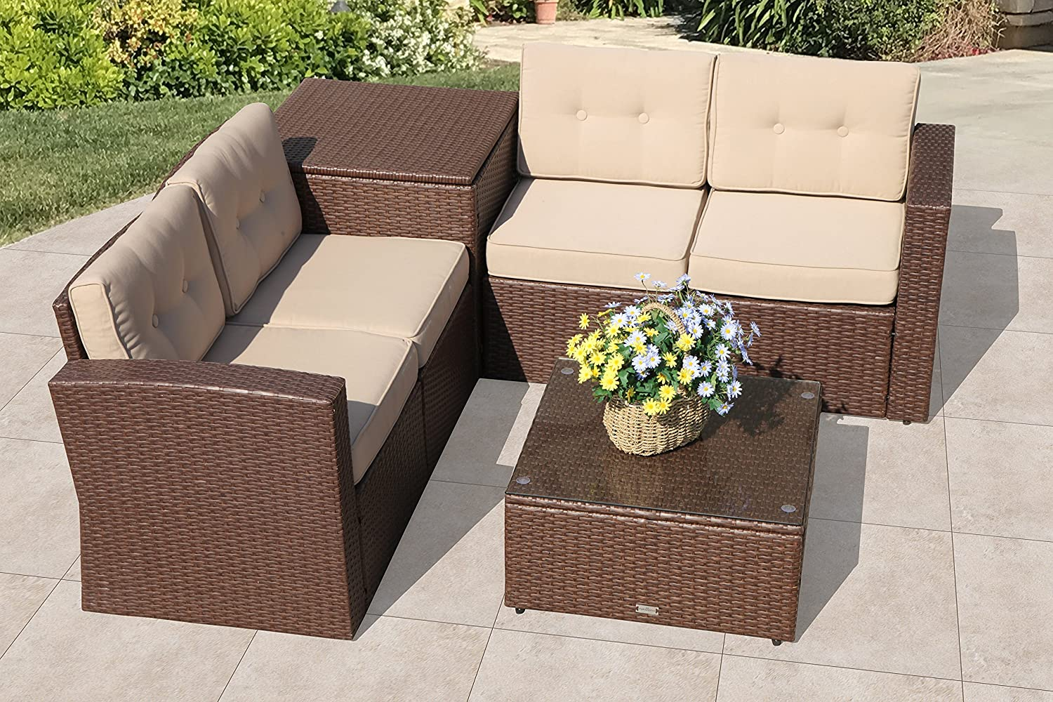 Super Patio Outdoor Furniture Set with Storage Box, 6 Piece All-Weather  Brown PE Wicker Sectional Sofa with Beige Cushions,Aluminum Frame