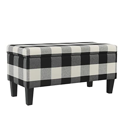 Admirable Homepop Large Upholstered Rectangular Storage Ottoman Bench With Hinged Lid Black Buffalo Plaid Machost Co Dining Chair Design Ideas Machostcouk