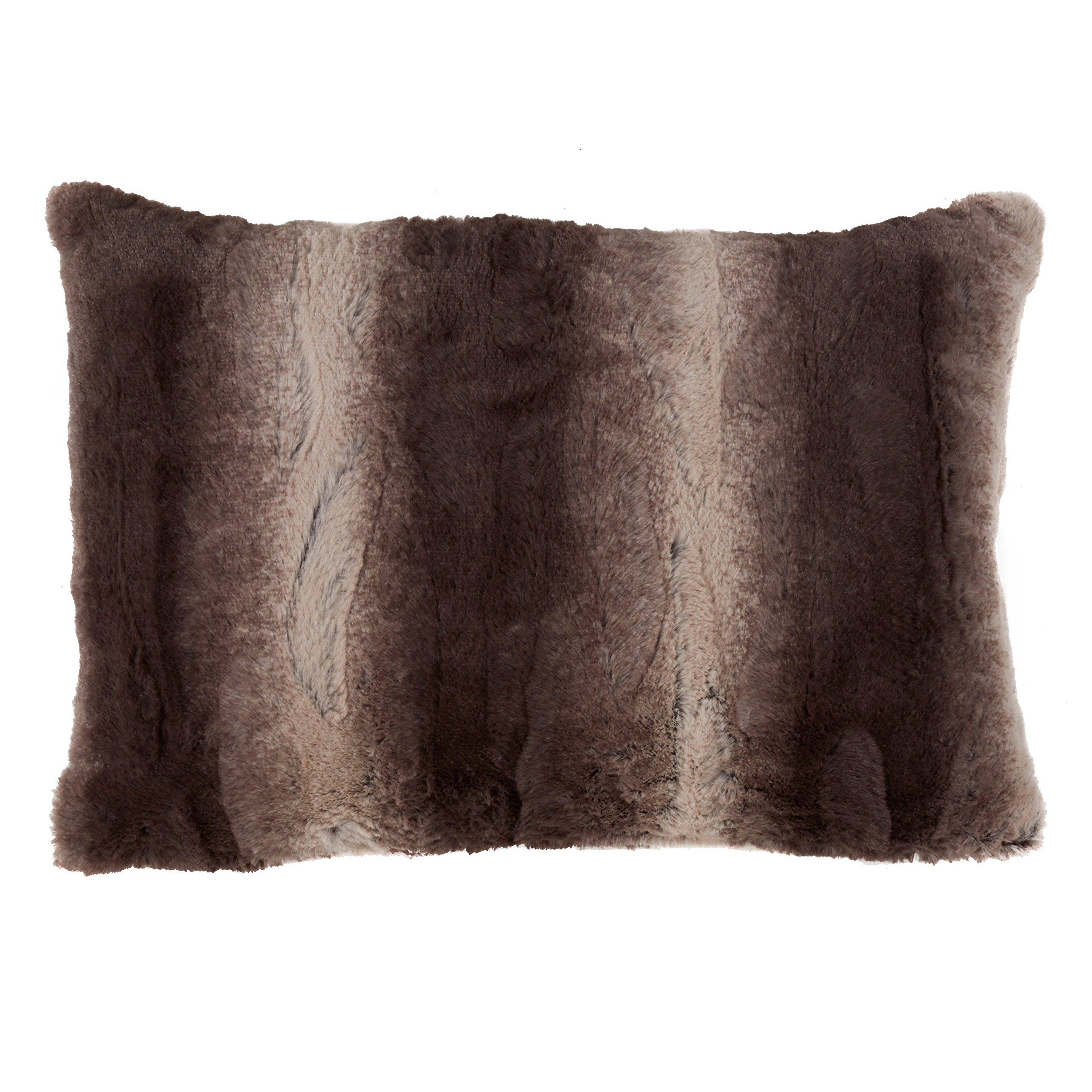 SARO LIFESTYLE Wilma Collection Timeless Animal Print Faux Fur Poly Filled Throw Pillow, 14'' x 20'', Chocolate