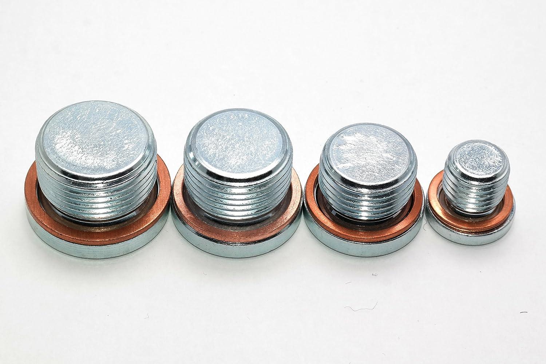 verzinkt Blindstopfen in Verzinktem Stahl 1 St/ück M8x1 Verschlussschrauben mit Feingewinde und Kupferdichtung DIN 908 Stahl galv