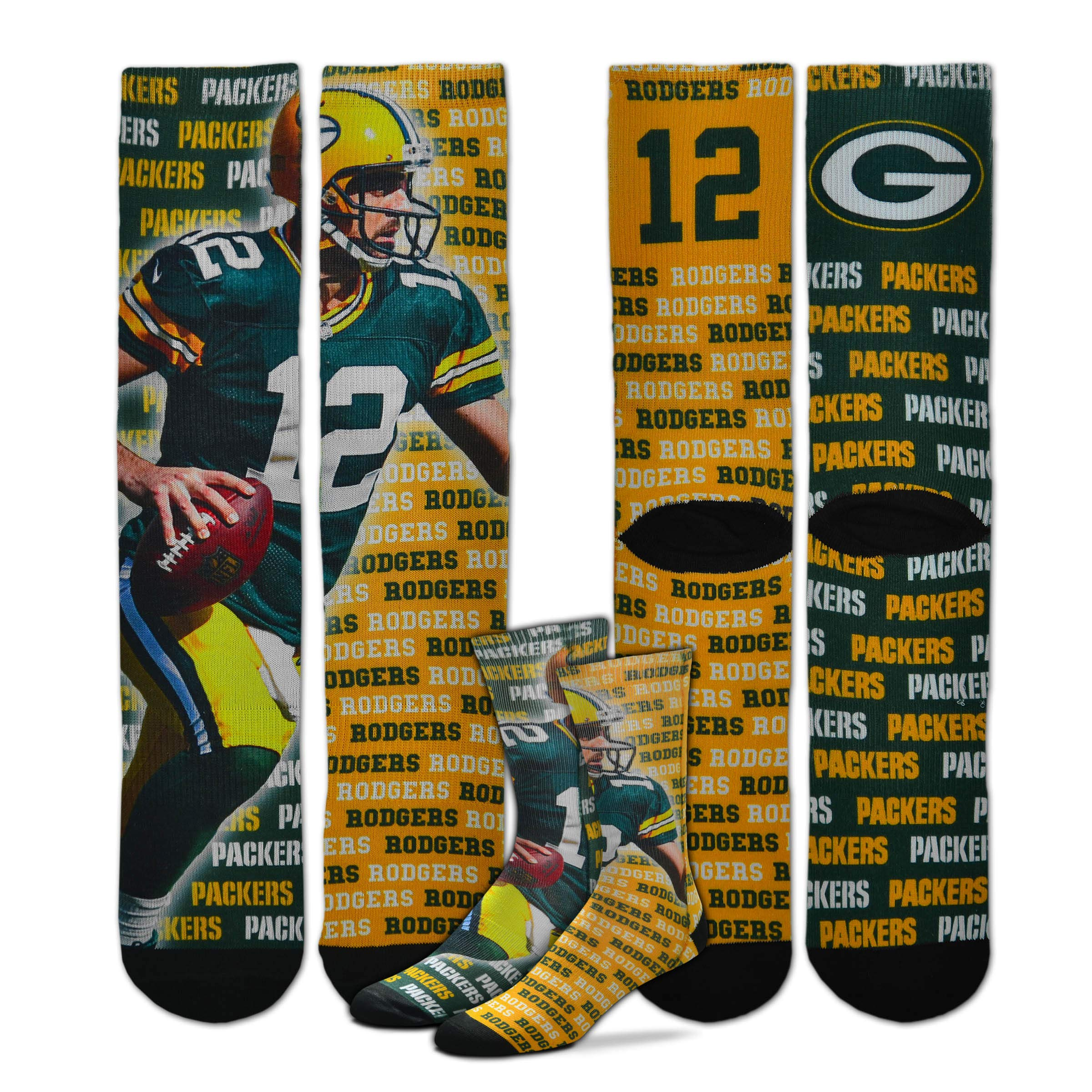 For Bare Feet - Say My Name NFL Player Sublimation Men's Crew Socks (Aaron Rodgers, Youth (4-8 Yrs))