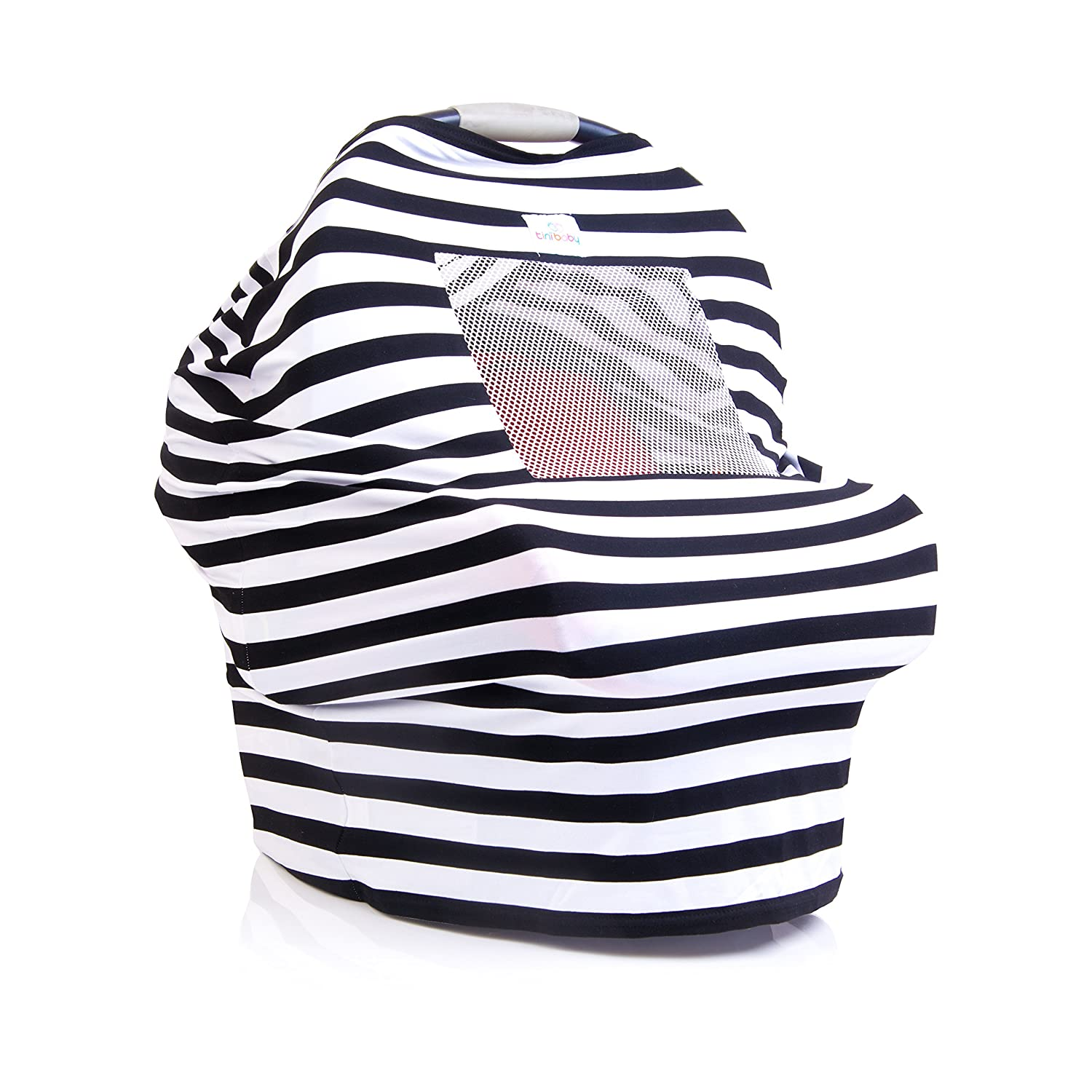 Baby Car Seat Canopy With Breathable Mesh, Safe, Soft, & Stretchy, Nursing Cover Best for Breastfeeding Infant Babies, Boy or Girl, Multi-Use as Scarf, Stroller, Chair, Cart Covers w bag (B&W) tini baby 4N1BWM1017