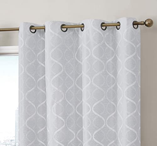 HLC.ME Versailles Lattice Flocked 100 Complete Blackout Thermal Insulated Window Curtain Grommet Panels – Energy Savings Soundproof, For Living Room Bedroom, Set of 2 50 x 84 inches Long, Ivory