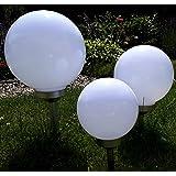 Kugelleuchte Gartenkugel 3er Set 30,25,20cm Kugel Garten Kugellampe Solar LED