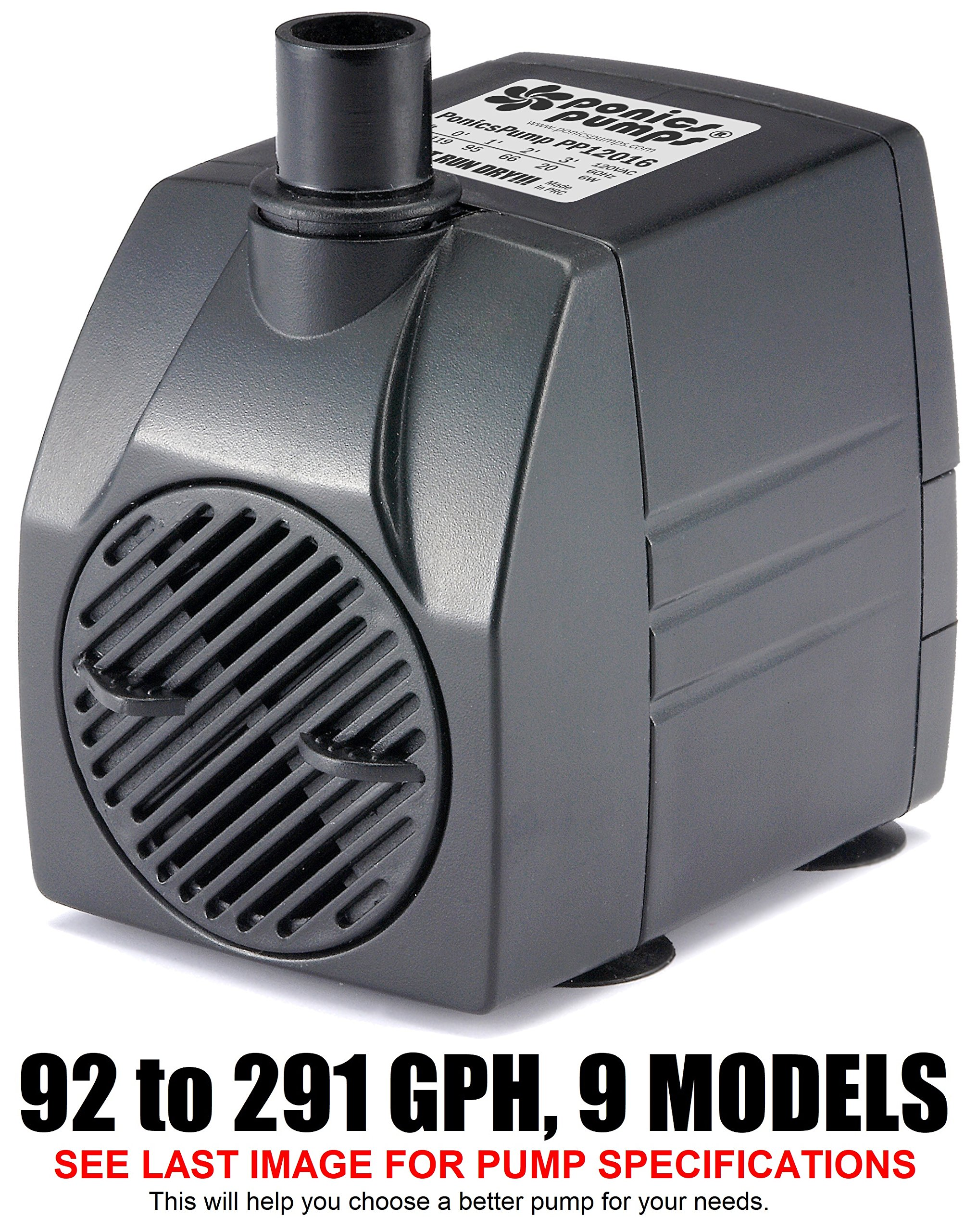 PonicsPump PP12016: 120 GPH Submersible Pump with 16' Cord - 6W… for Fountains, Statuary, Aquariums & more. Comes with 1 year limited warranty. by PonicsPump