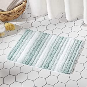 "SoHome Striped Bathroom Rug Mat, Super Soft Extra Absorbent Shag Bath Mat Rug, Perfect Plush Carpet Mat for Shower and Bathroom, Machine Washable, Non Slip, 27""x48"" Blue"
