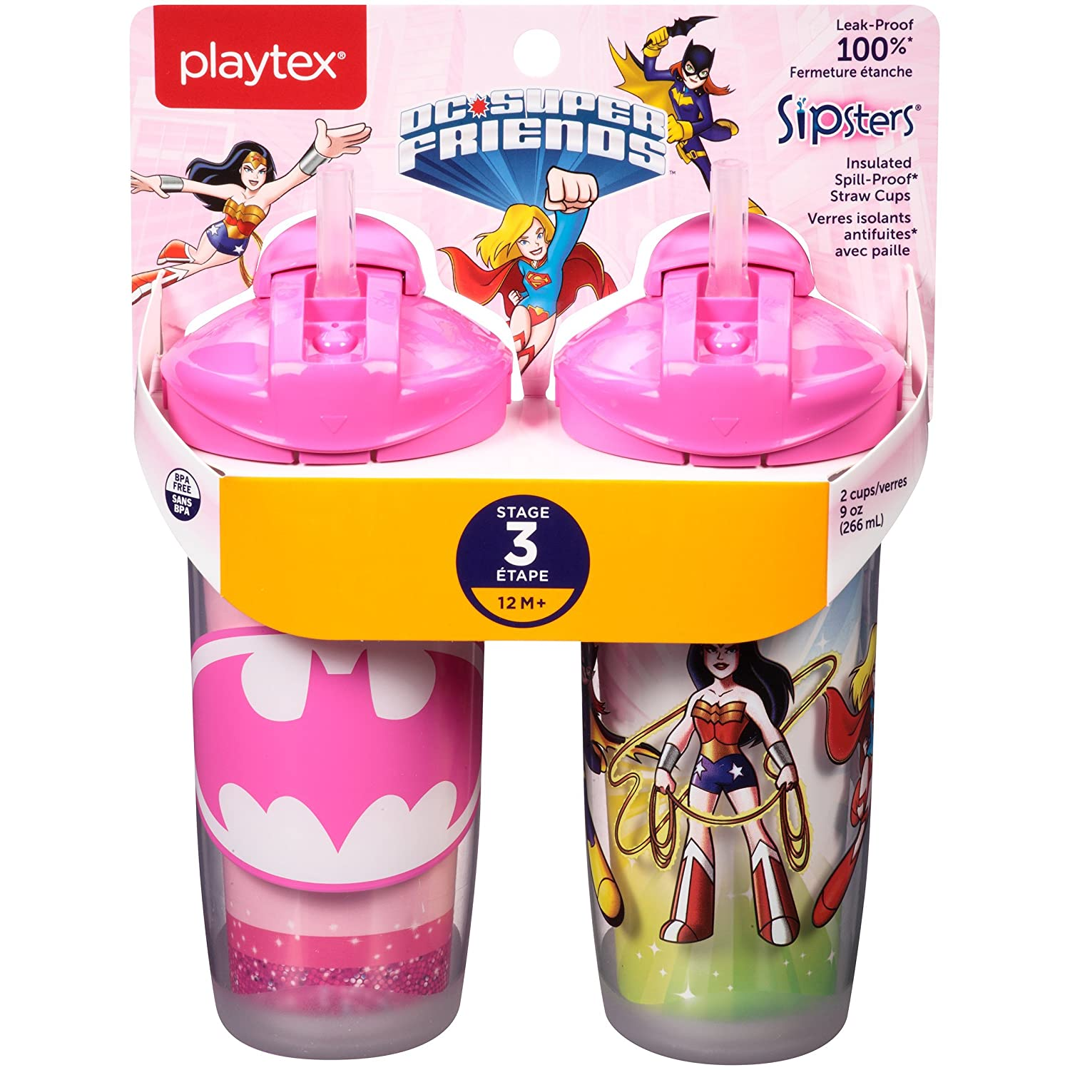 Playtex Sipsters Stage 3 Insulated Spout Sippy Cups For Girls  9 Ounce  2 Count