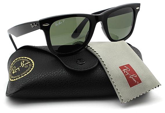 5eed0b21f5cf3 Ray-Ban RB2140 901 58 Wayfarer Black Frame Green Polarized Lens 50mm   Amazon.co.uk  Clothing