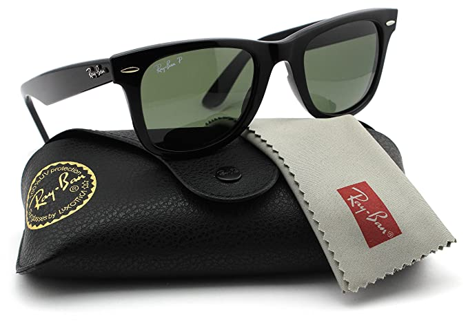c46e5beeb3 Ray-Ban RB2140 901 58 Wayfarer Black Frame   Green Polarized Lens 50mm