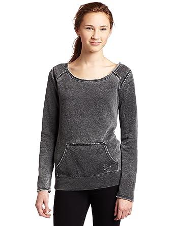 3c4a71f5153 Volcom Junior s Spot On Boatneck Crew Fleece Sweater Black Heather X-Small
