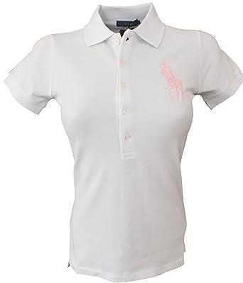 best service d08bd 719b1 Ralph Lauren Damen Poloshirt kurzarm Weiss *Big Pony Rosa ...