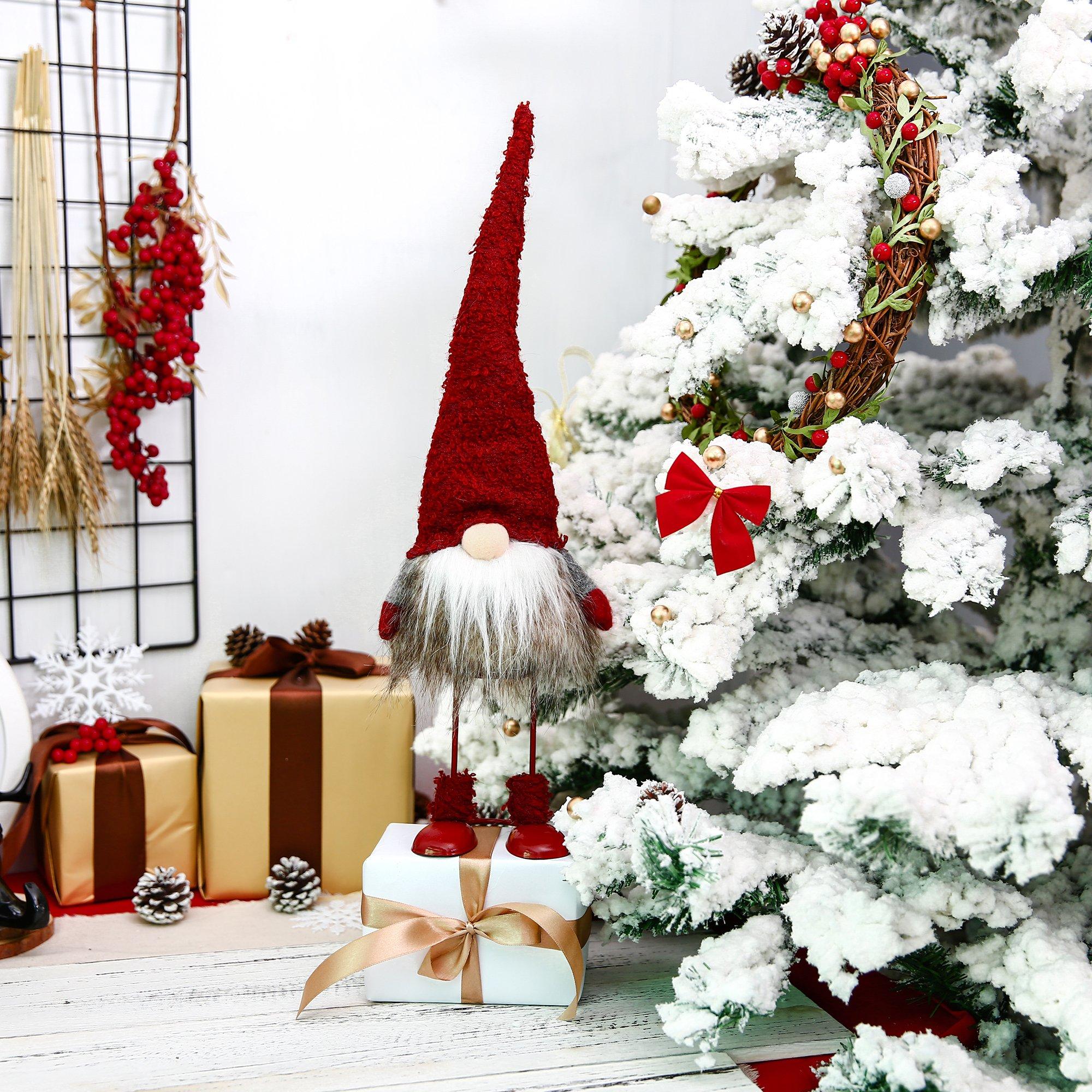 Christmas Decorations 10 Inches ITOMTE Handmade Swedish Gnome Holiday Presents Yule Santa Nisse 2 Pcs Winter Table Ornament Home Decor Nordic Figurine Plush Elf Toy Scandinavian Tomte