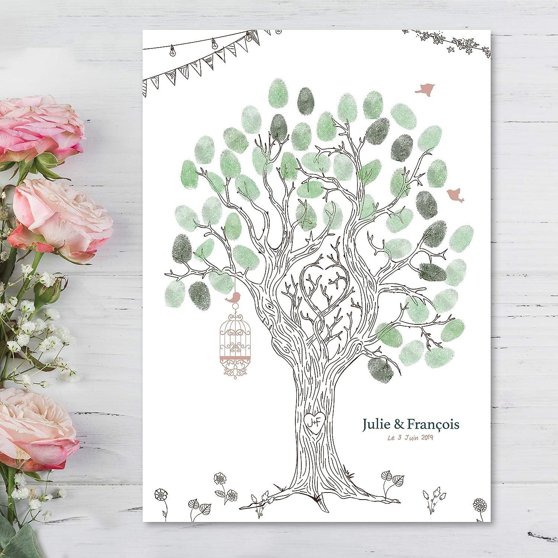 Arbre à empreintes Mariage Format A3 - Thème mariage champêtre avec sa cage à oiseaux et son traité aux traits.