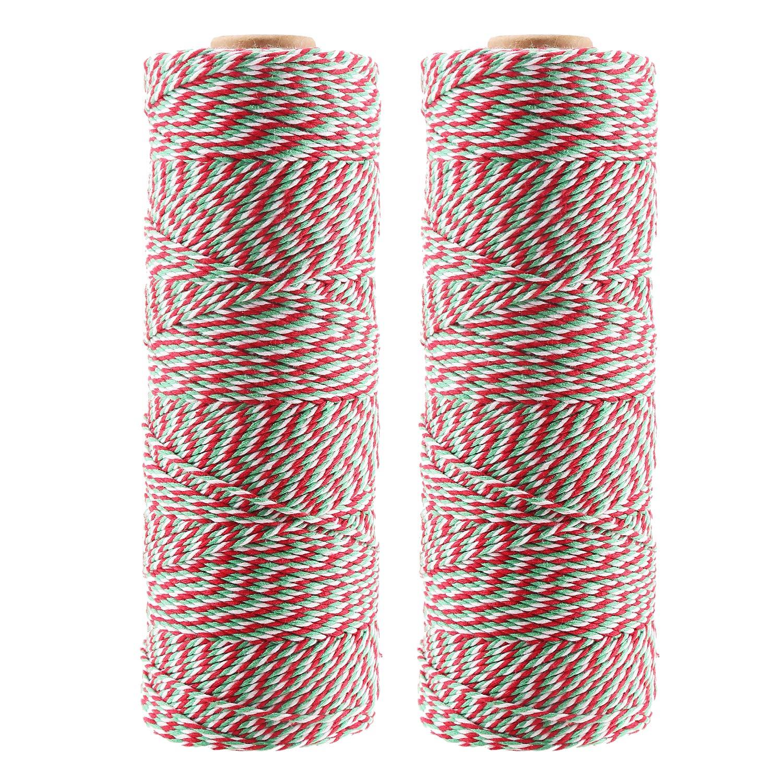 Veylin Coton Bakers Ranken 400 metres Rouge/blanc/vert Fond Triply Ficelle Corde pour cadeau de Noë l, 2 mm 2mm