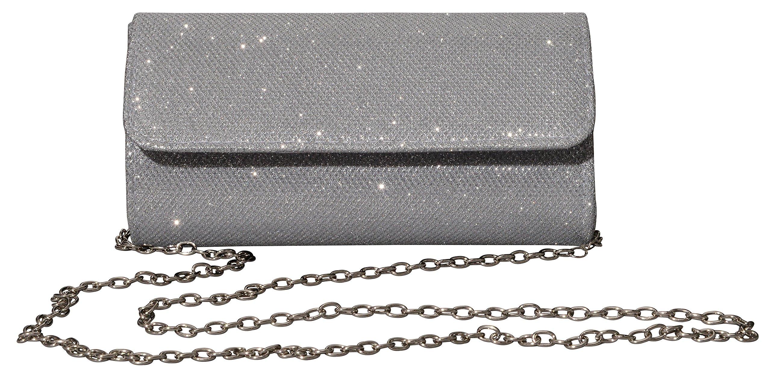 Outrip Women's Evening Bag Clutch Purse Glitter Party Wedding Handbag with Chain (Silver)
